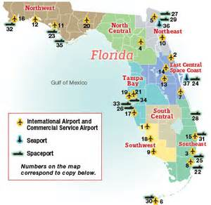 florida map with cities and airports map of florida airports and seaports business florida