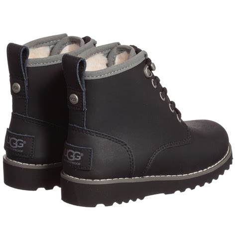 ugg australia black leather waterproof ankle boots