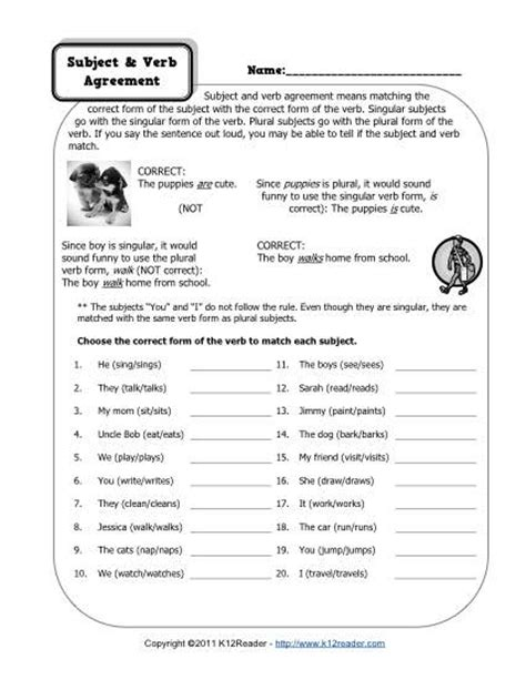 subject verb agreement worksheets 6th grade davezan
