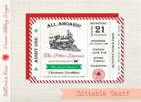 printable santa tickets polar express invitation christmas party invitation