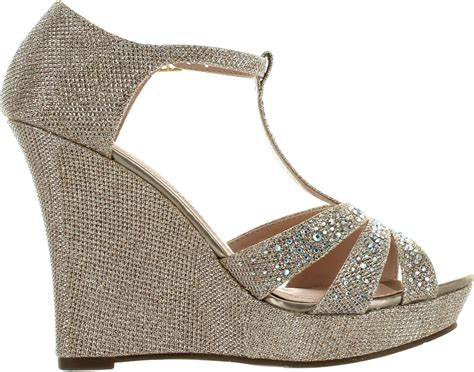 rhinestone wedge sandals deblossom womens dressy glitter rhinestone t