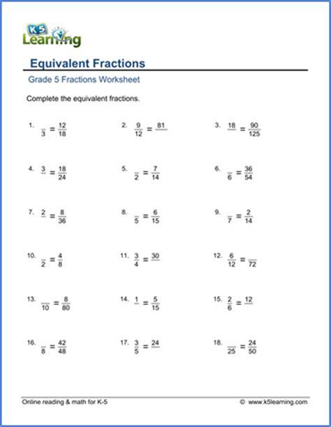 Grade 5 Equivalent Fractions Worksheets grade 5 fractions worksheets equivalent fractions k5