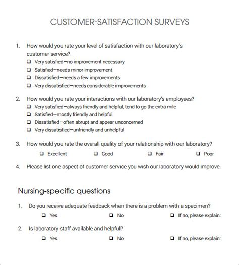 customer service satisfaction survey template sle customer satisfaction survey 10 documents in pdf