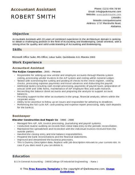 resume format for accountant assistant pdf accountant assistant resume sles qwikresume