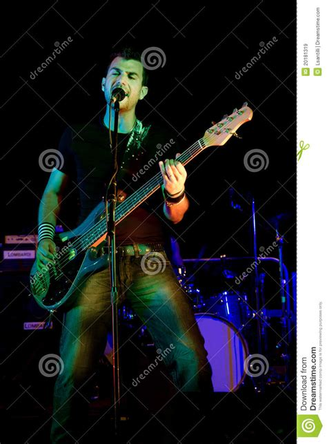 rock guitar player on dish net commercial electric bass guitar player royalty free stock images