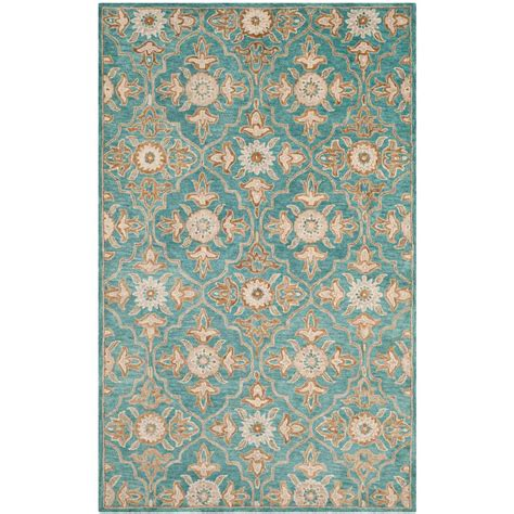 safavieh vintage turquoise multi 5 safavieh heritage turquoise multi 5 ft x 8 ft area rug hg870a 5 the home depot