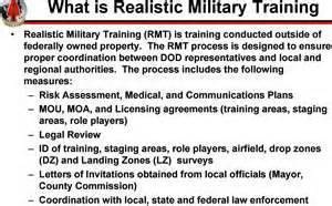 Part of this military activity requires training outside of federally