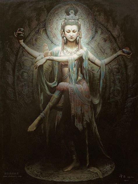delineating art quan yin posing as lord shiva