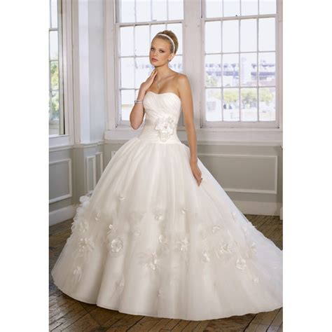 wedding dress and flower gown strapless organza ruched flowers ribbons white wedding dress