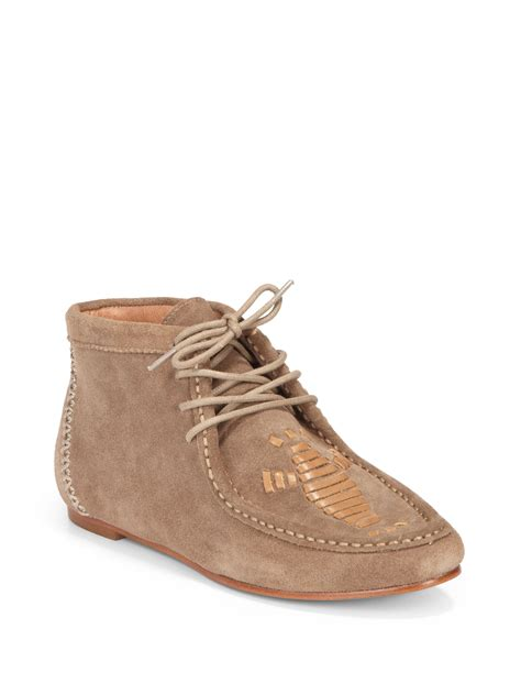 joie eye of the tiger moccasin ankle boots in taupe lyst