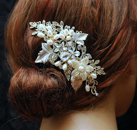 Vintage Bridal Pearl Hair Comb by Vintage Style Bridal Hair Accessories Pearl Wedding Hair
