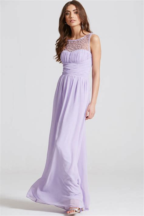 Maxy By lilac embellished neck maxi dress