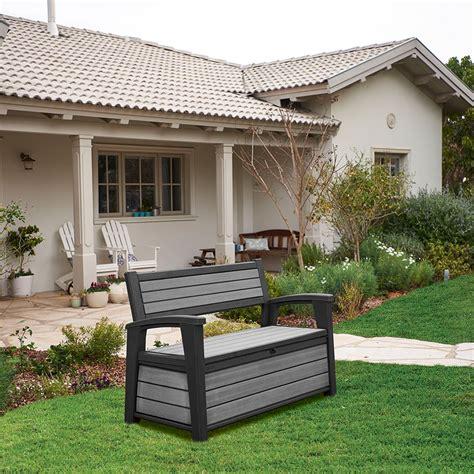 banc de jardin en resine coffre banc de jardin en r 233 sine brossium 227l gris