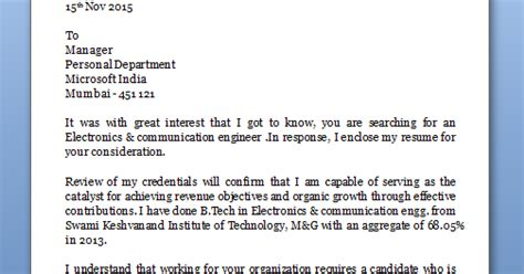 Organic Electronics Cover Letter by Application Letter For