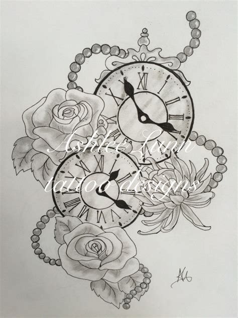 tattoo flower clock black and white clocks with roses chrysanthemums and