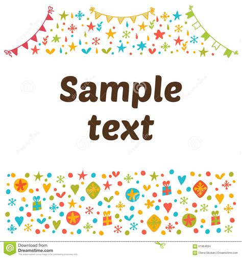 colorful card background design elements free vector in empty blank with funny colored design elements cute