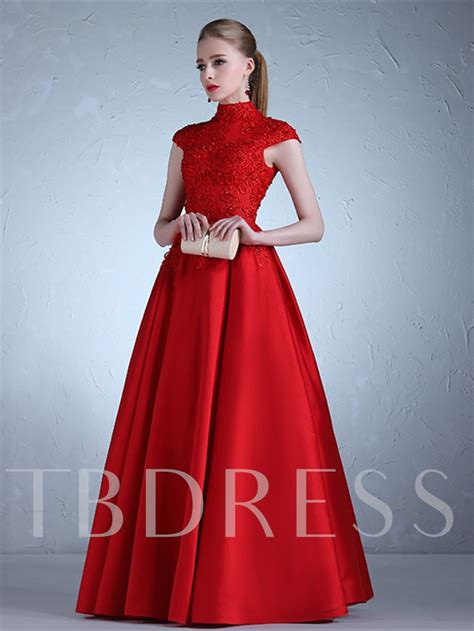 High Neck Sleeve A Line Dress high neck appliques beading a line cap sleeves evening