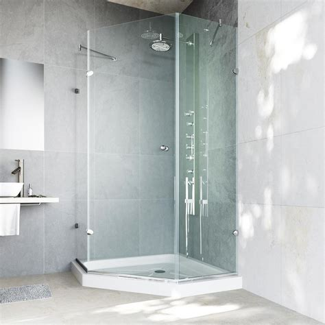 Glass Shower Enclosures With Base Vigo Verona 36 125 In X 76 75 In Frameless Neo Angle