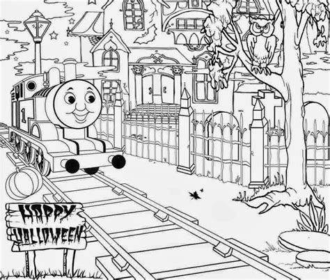 haunted thomas the train halloween coloring pages