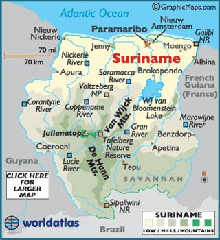 suriname map / geography of suriname / map of suriname