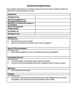 Employee Investigation Form Template by Investigation Report Template 12 Free Word Pdf