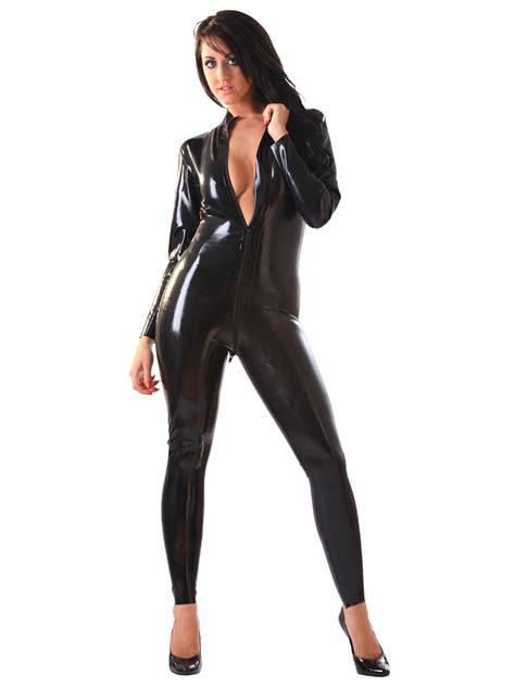 catsuits for women honour women s catsuit in black latex rubber longsleeves