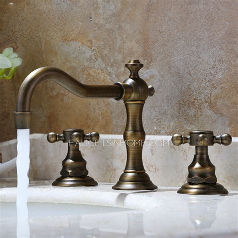 vintage antique bronze three bathroom sink faucet