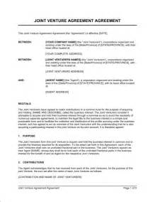 Joint Venture Term Sheet Template by Joint Venture Agreement 2 Template Sle Form