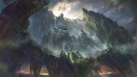 artwork fantasy art pagoda asian architecture mountain