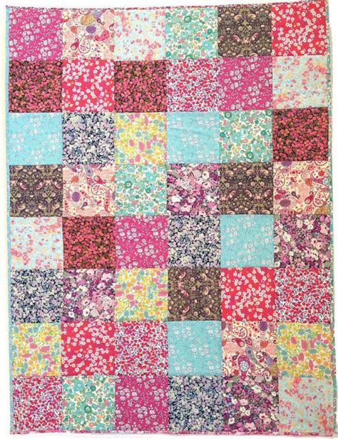 Patchwork Textiles - patchwork cot quilt top kit liberty fabric