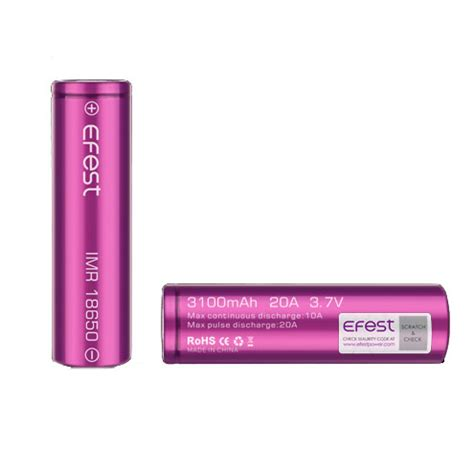 Efest Purple Imr 18650 Li Mn Battery 3 7v 30a efest purple imr 18650 li mn battery 3100mah 3 7v 20a with flat top 18650p20v1 purple