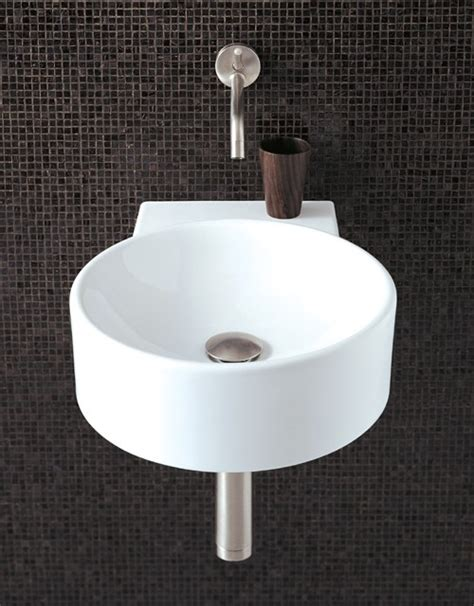 Designer Sinks Bathroom Round Wall Hung Basin With No Tap Hole 400 X 495mm Flame