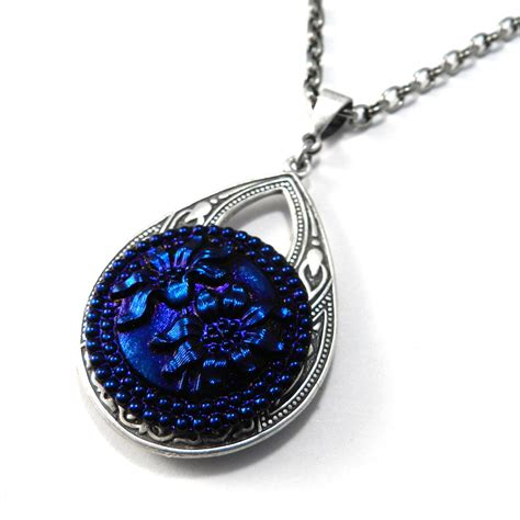 antique button necklace midnight iris glass by
