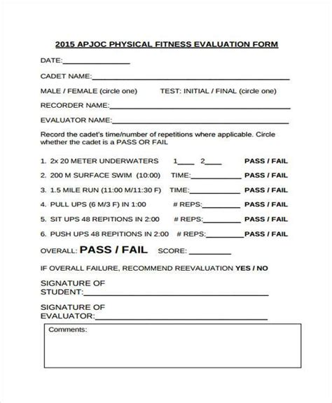 fitness appraisal template fitness assessment form resume template sle