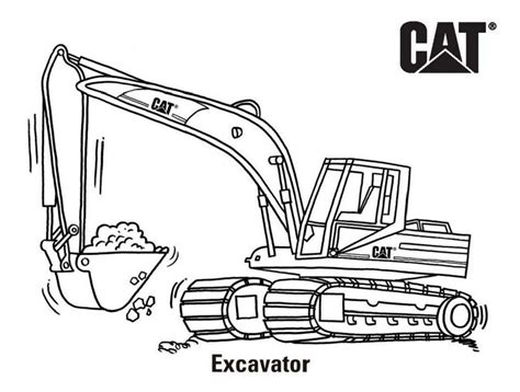 excavator coloring page printable excavator cat coloring page printable