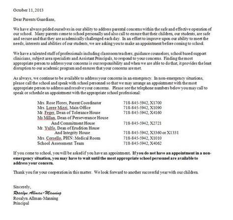 Parent Letter Of Concern For Parents Homepage