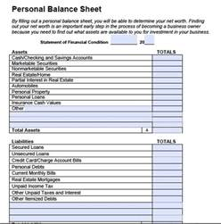 Balance Sheet Template Free by Personal Balance Sheet Template Peerpex