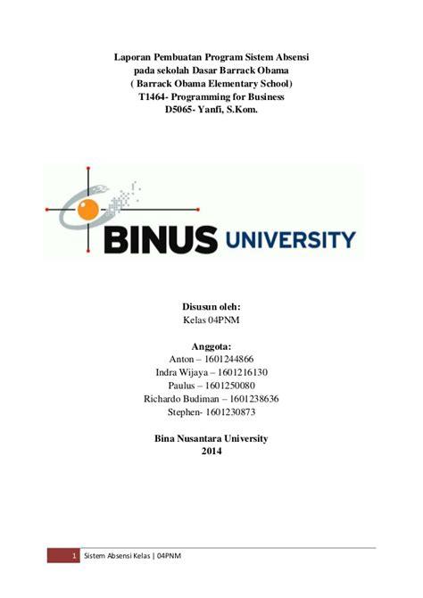 Format Proposal Skripsi Binus | laporan tugas akhir programming for business pfb