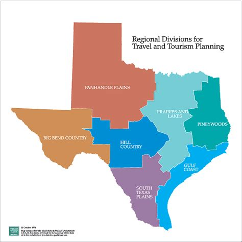 texas map with regions tpwd maps