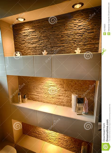 Modern Bathroom Shelves Decorative Shelf Stock Image Image Of Floor Shelf Light 31218023