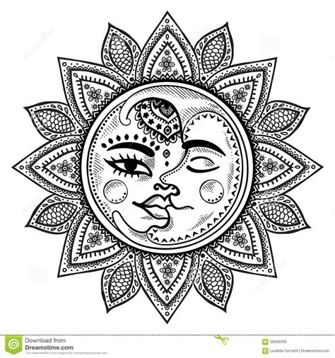 scarica clipart sun and moon vintage illustration stock vector