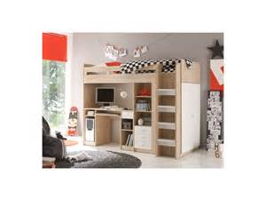 lit mezzanine 90x200 cm avec 233 tag 232 res tiroirs armoire