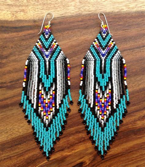 beadwork earrings turquoise feather earrings by wildmintjewelry on etsy 82