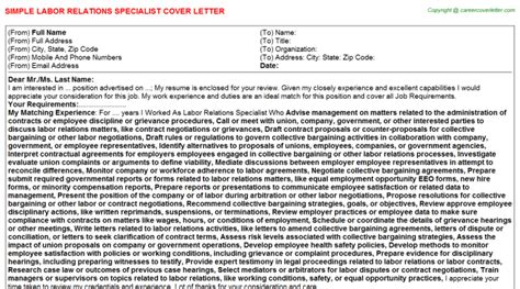 Labor Relations Specialist Cover Letter labor relations specialist cover letter