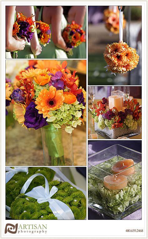 purple orange and green theme wedding flower arrangements