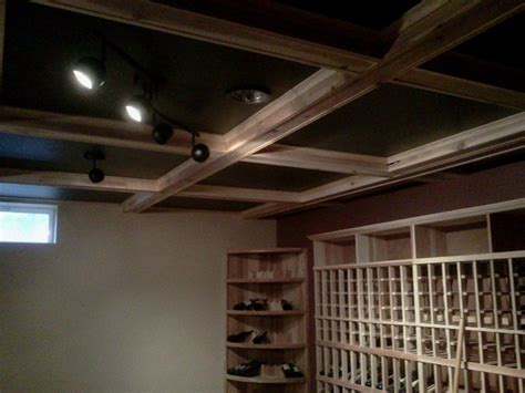 custom wine cellar box beam ceiling by p t walz co