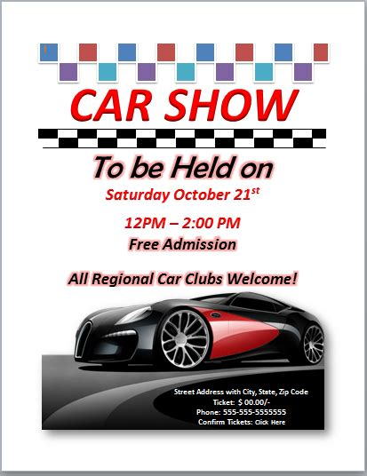 templates for car show flyers ms office guru free ms word excel and publisher templates