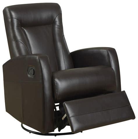 Swivel Recliner Rocker Leather Chair Monarch Specialties 8082br Swivel Rocker Recliner In