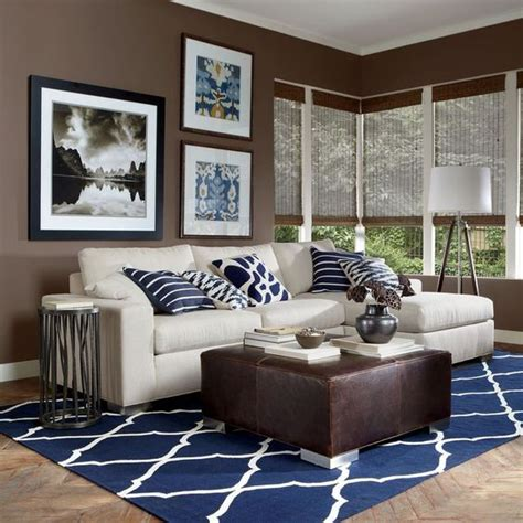 brown and white living room 26 cool brown and blue living room designs digsdigs
