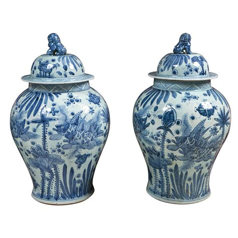 blue and white ginger jars 20th c blue and white ginger jars